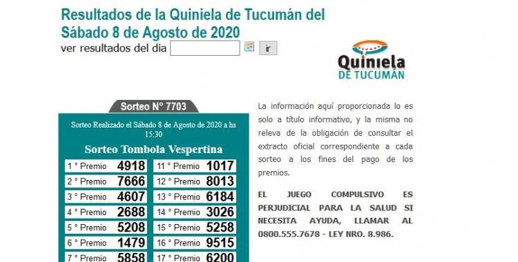 Resultados de la Quiniela de Tucumán: Tómbola Vespertina del Sábado 8 de Agosto de 2020   El Diario 24