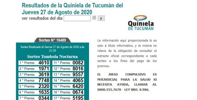 Resultados de la Quiniela de Tucumán: Tómbola Nocturna del Jueves 27 de Agosto de 2020 | El Diario 24