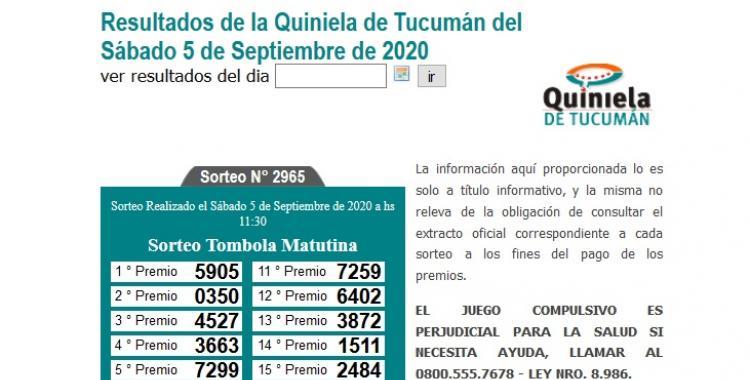 Resultados de la Quiniela de Tucumán: Tómbola Matutina del Sábado 5 de Septiembre de 2020 | El Diario 24