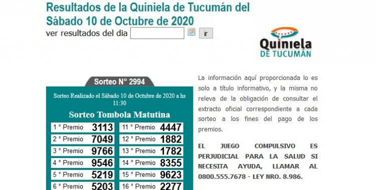 Resultados de la Quiniela de Tucumán: Tómbola Matutina del Sábado 10 de Octubre de 2020   El Diario 24