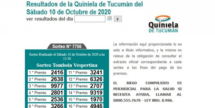 Resultados de la Quiniela de Tucumán: Tómbola Vespertina del Sábado 10 de Octubre de 2020 | El Diario 24