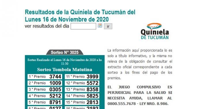 Resultados de la Quiniela de Tucumán: Tómbola Matutina del Lunes 16 de Noviembre de 2020 | El Diario 24
