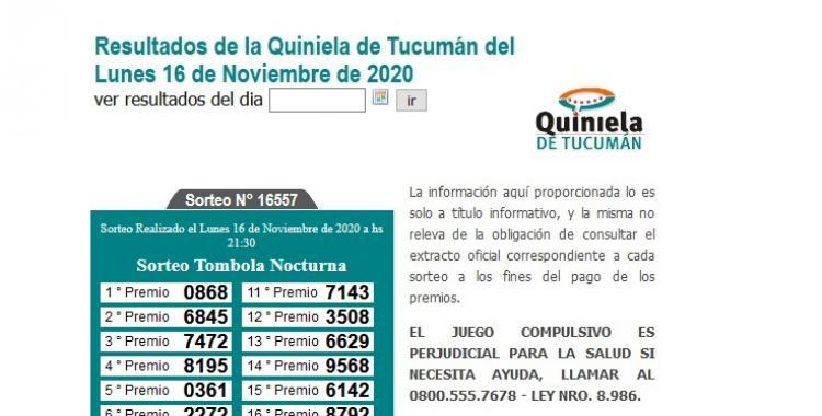 Resultados de la Quiniela de Tucumán: Tómbola Nocturna del Lunes 16 de Noviembre de 2020 | El Diario 24