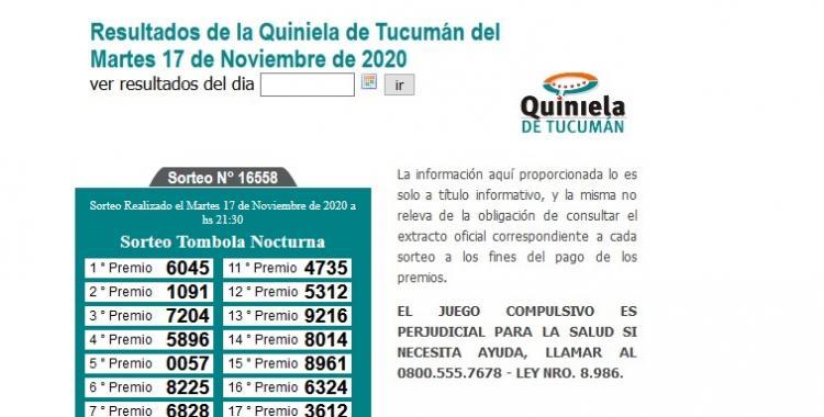 Resultados de la Quiniela de Tucumán: Tómbola Nocturna del Martes 17 de Noviembre de 2020   El Diario 24