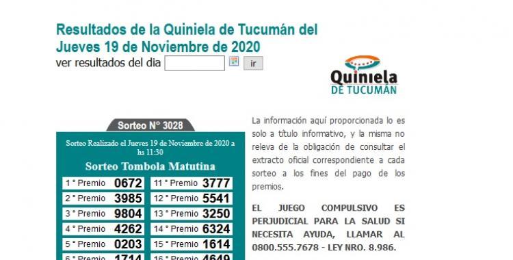 Resultados de la Quiniela de Tucumán: Tómbola Matutina del Jueves 19 de Noviembre de 2020   El Diario 24