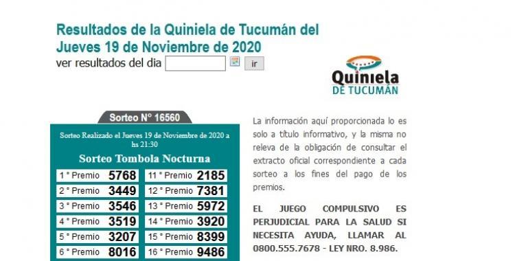 Resultados de la Quiniela de Tucumán: Tómbola Nocturna del Jueves 19 de Noviembre de 2020   El Diario 24