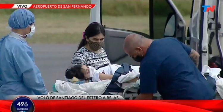 Abigail aterrizó en Buenos Aires en el avión Sanitario y ya es trasladada al Hospital Austral | El Diario 24