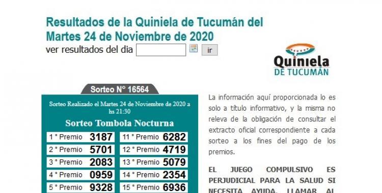 Resultados de la Quiniela de Tucumán: Tómbola Nocturna del Martes 24 de Noviembre de 2020 | El Diario 24