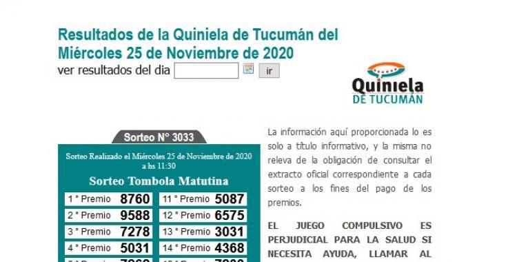 Resultados de la Quiniela de Tucumán: Tómbola Matutina del Miércoles 25 de Noviembre de 2020   El Diario 24