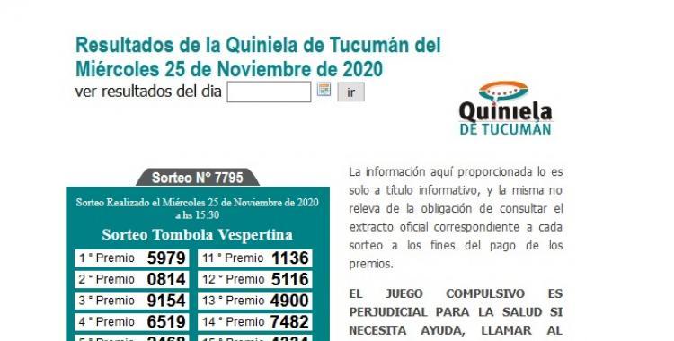 Resultados de la Quiniela de Tucumán: Tómbola Vespertina del Miércoles 25 de Noviembre de 2020 | El Diario 24