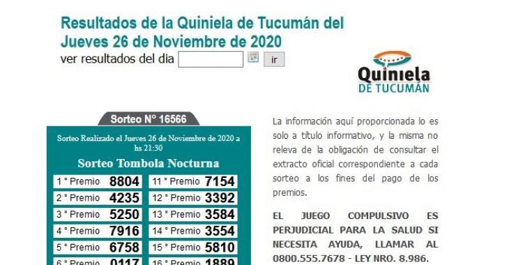 Resultados de la Quiniela de Tucumán: Tómbola Nocturna del Jueves 26 de Noviembre de 2020   El Diario 24