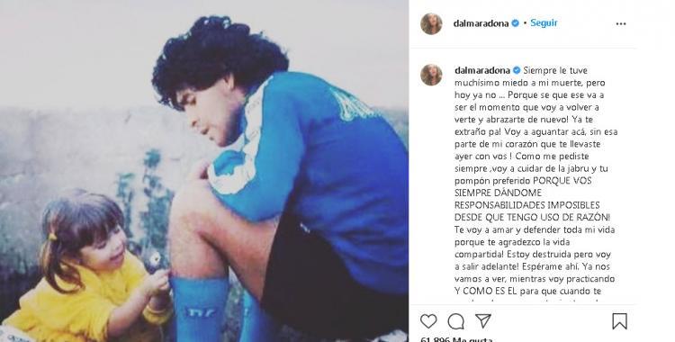 Esperame ahí: La conmovedora despedida de Dalma Maradona a su papá | El Diario 24