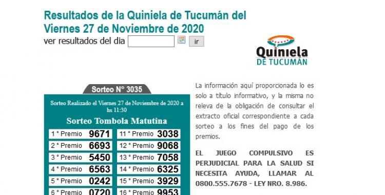 Resultados de la Quiniela de Tucumán: Tómbola Matutina del Viernes 27 de Noviembre de 2020 | El Diario 24