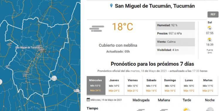 Pronóstico del tiempo en San Miguel de Tucumán para hoy: miércoles 19 de mayo | El Diario 24