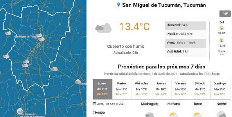 Clima en Tucumán: pronóstico para hoy lunes 7 de junio de 2021   El Diario 24