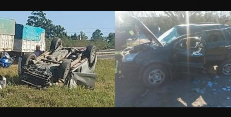 Ruta 9: violento choque y vuelco deja tres heridos a la altura de Los Nogales | El Diario 24