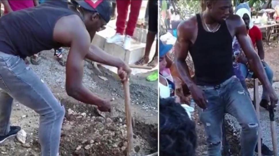 Usain Bolt cavó tumba de su amigo con sus propias manos