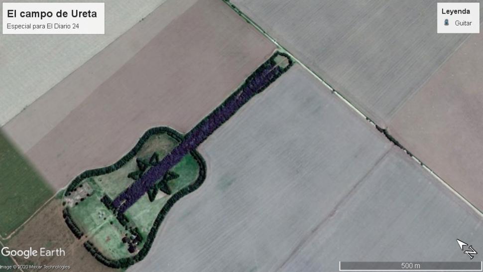 Guitarra de 7.000 arboles en Google Earth